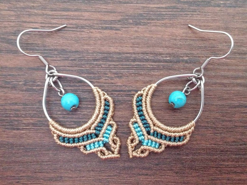 Hypoallergenic Gifts For Her Small Turquoise Boho Earrings Macrame Hippie Jewelry
