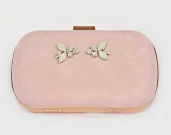 Bridal Clutch blush clutch with Swarovski crystal princess bride wedding clutch bridesmaid clutch pink clutch bag pink purse velvet clutch