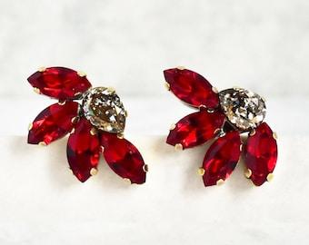 Crystal earrings red earrings flower earrings Swarovski crystal handmade jewelry Swarovski earrings gift for women christmas earrings gift