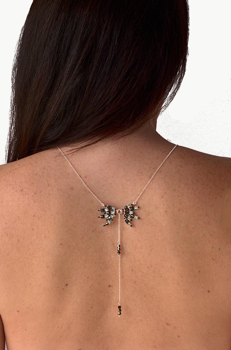 ee72e594d Crystal wing necklace black back necklace Swarovski back | Etsy