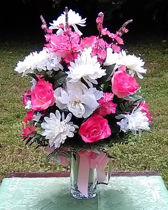 Silk Flower Arrangement Memorial Graveside Funeral Etsy