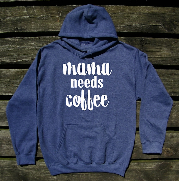 This Mom Needs a Coffee White Print Unisex Adult Hooded Pullover Sweatshirt