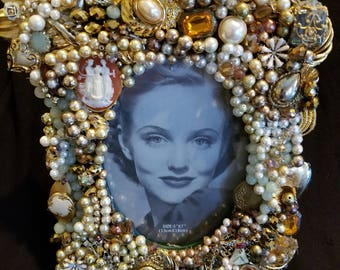 Jeweled Frame made with Repurposed Vintage Jewelry.  One Of A Kind.