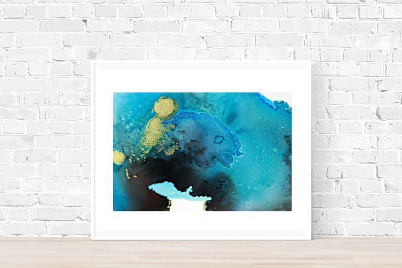 Blue and Gold Abstract Art, Turquoise Painting, Ready to Frame, Acid Free  Matte and Backboard , Modern Art, 8x10