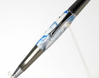Elegant custom twist pen in Black titanium and chrome plating, with white, blue, and black acrylic body.  Makes a beautiful gift.