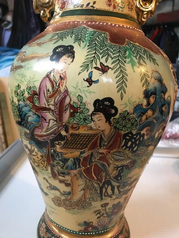 Large Satsuma Hand Painted Vase Etsy