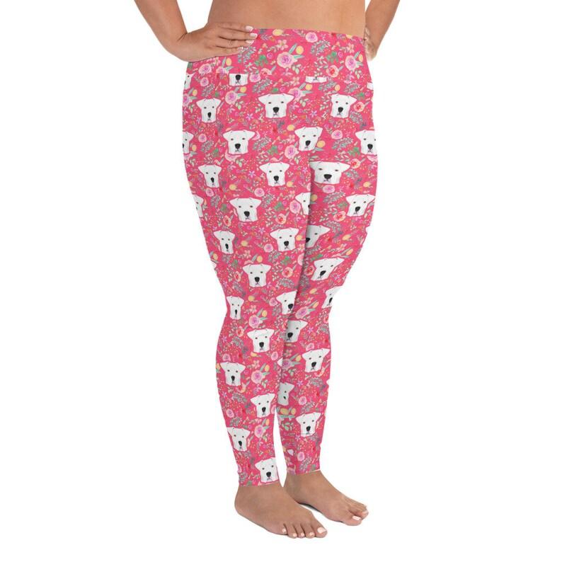 Argentinian Dogo Yoga Leggings Pink Floral Print Adult Plus Size Legging 2XL 3XL 4XL 5XL 6XL
