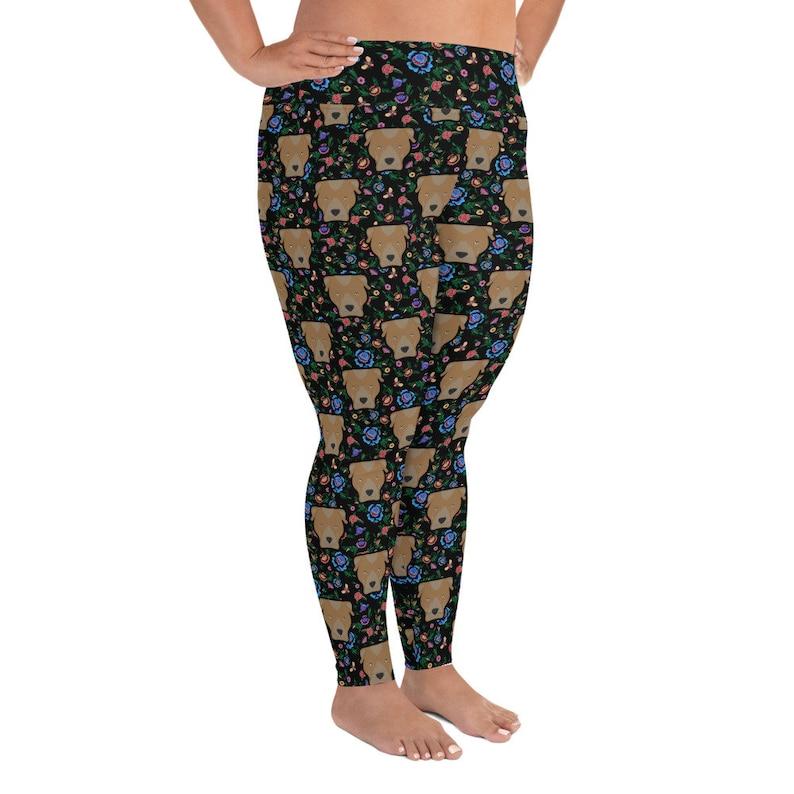 6XL 5XL American Staffordshire Terrier Pitbull Blond Yoga Leggings Black Floral Print Adult Plus Size Legging 2XL 3XL 4XL