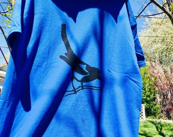 magpie - one of a kind screen-printed shirt