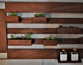 Solid Cherry or Hard Oak Living Wall Art Sculpture with Flower Box Planters for Succulents and Plants. LT6030