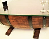 Half Wine Barrel Coffee Table and Glass top with the REMAINDER of the barrel in reverse position & includes 3 Pendant Hanging Lamp # 2108R