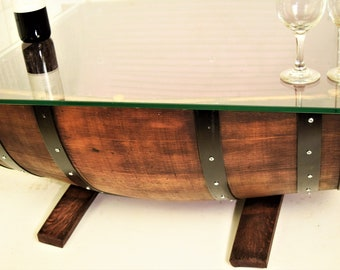 Half Wine Barrel Coffee Table And Glass Top WITH THE REMAINDER Of The Barrel  In Reverse