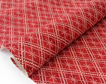 Fabric American patchwork-brick red geometric x 50cm