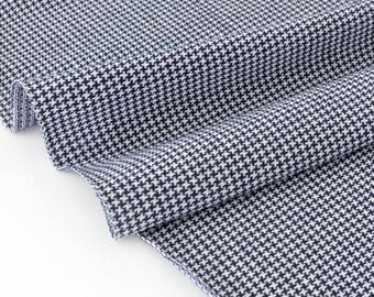 Fabric dyed woven cotton jersey black white houndstooth foot x 50cm