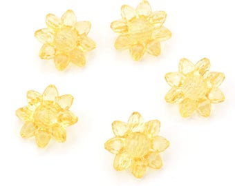 5 buttons polyester flower translucent effect yellow molded diameter 22mm