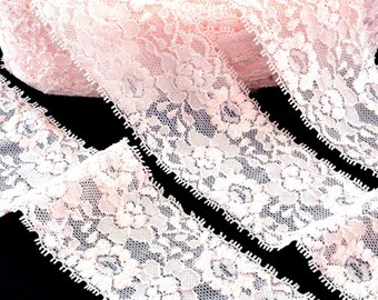 Flowing satin lingerie stretch lace edge pink 5.5 cm x 1 meter