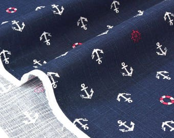 Japanese cotton fabric background anchor dobby Navy x 50cm
