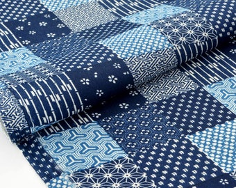 Japanese traditional geometric pattern polycotton Navy x 50cm
