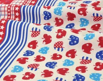 Japanese LECIEN fabric very soft-Apple Red Blue Star x 50cm
