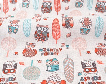 Soft cotton twill fabric cute owls in forest x50cm pink ecru background
