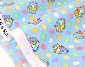 US fabric patchwork Theme Easter multicoloured eggs basket silver x 50cm