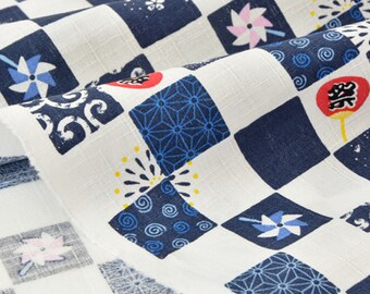 Fabric cotton Japanese traditional geometric dobby Navy White x 50cm
