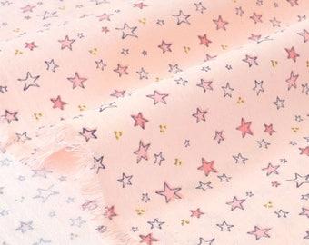 Silky smooth cotton chevron fabric stars on pink background x 50cm