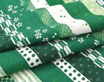 Japanese fabric cotton dobby traditional geometric green x 50cm