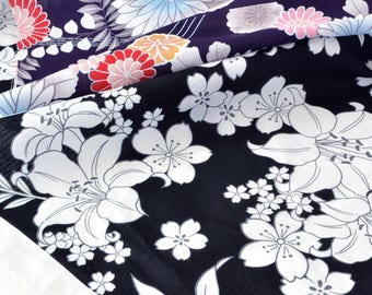 Japanese kimono fabric floral printed traditional style x 50cm