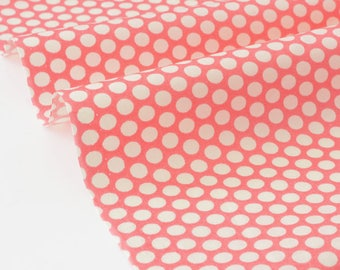 Silky smooth cotton Japanese fabric geometric ivory dots background pink x 50cm