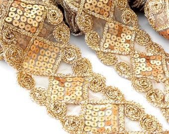4.3 metres Ribbon stripe glitter sequins Gold 5.5 cm