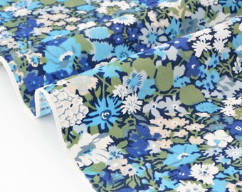 Silky smooth cotton Japanese blue floral fabric background ecru x 50cm