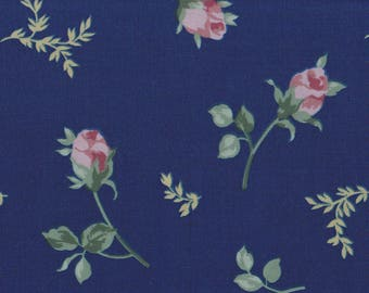 "Vintage navy blue rose buds falling roses pillow cases | Bed Sheet Fabric PRE-CUT ~26"" x 40"""