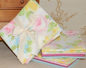 Classic Vintage Floral FQ bedsheet bundle | 5 Fat Quarters | bright watercolor roses check pink blue quilt craft fabric reclaimed