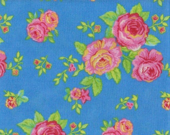 "Moda Gypsy Girl Lily Ashbury #11463 | vibrant pink roses cobalt blue cabbage rose quilt fabric BTHY PRE-CUT ~18"" x 44"""