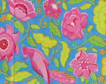 "Moda Gypsy Girl Lily Ashbury #11461 | vibrant pink birds in flowers and vines quilt fabric BTHY PRE-CUT ~18"" x 44"""