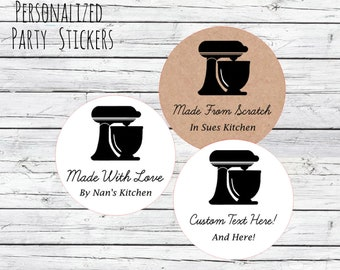 made with love made from scratch stickers kitchen mixer brown kraft bake sale baker labels personalized customized
