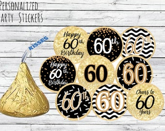 60th Birthday Party Decorations Black And Gold Favors Happy Stickers For Hershey Kisses