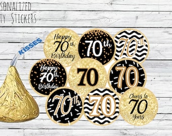 70th Birthday Party Decorations Black And Gold Favors Happy Stickers For Hershey Kisses