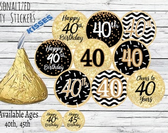 40th Birthday Party Decorations Black And Gold Favors Happy Stickers For Hershey Kisses