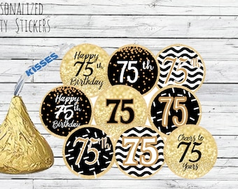 75th Birthday Party Decorations Black And Gold Favors Happy Stickers For Hershey Kisses