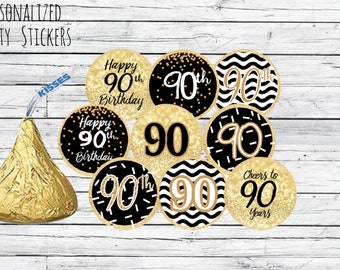 90th Birthday Party Decorations Black And Gold Favors Happy Stickers For Hershey Kisses