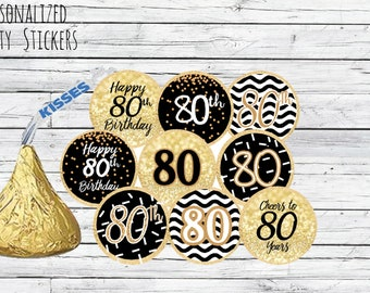 80th Birthday Party Decorations Black And Gold Favors Happy Stickers For Hershey Kisses 108