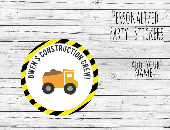 Construction Crew Labels Personalized Construction Loads of Fun Stickers Dump Truck Stickers Construction Birthday Stickers