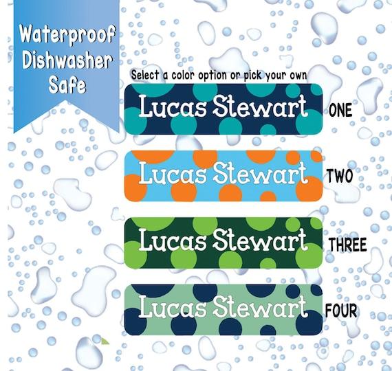 Boys Blue Polk-a-dot Waterproof Labels