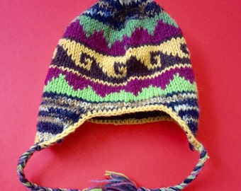 Sherpa Hat with Ear Flaps- Heavy wool hand knit from Nepal 2dfa4250e3cb