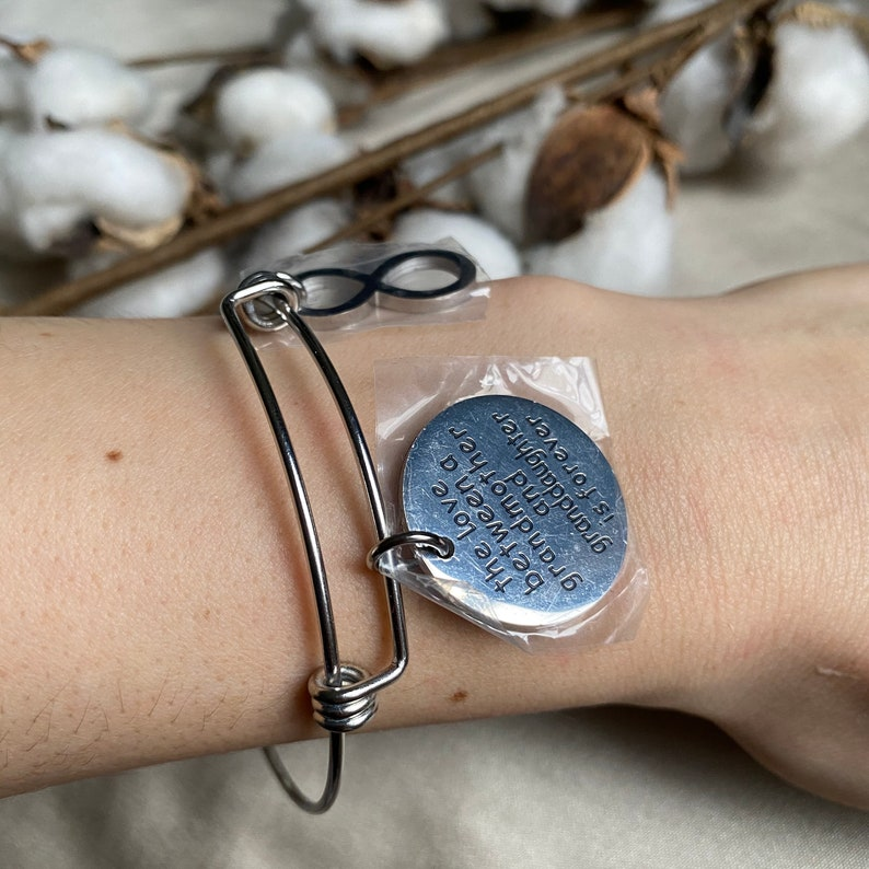Inspirational Cuff Charm Silver Tone Bracelet Engraved The Love Between a Grandmother and Granddaughter Is Forever Mother\u2019s Day Gifts