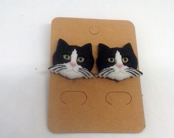 Whimsical Treasures-Fat Cat Faces!-Black&White-Stud Earrings