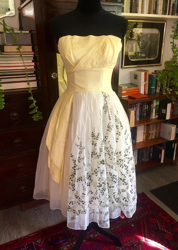 Vintage Prom Dress 1960s Yellow with Flowers