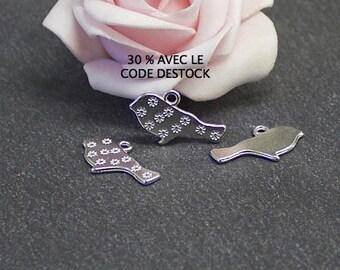 Platinum x 10 silver metal bird charms 21 mm x 12 mm BRA152